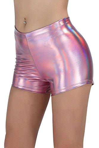 (NIliker Women Leather Metallic Shiny Short (X-Large, Multicolor Pink))
