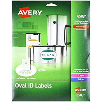 Avery White Oval Labels Permanent Pack Of 270 6583
