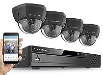 Amcrest 8CH Plug & Play H.265 4K NVR 4K (8MP) 3840x2160 Security Camera System, (4) x 8-Megapixel 2.8mm Wide Angle Lens Weatherproof Metal Dome POE IP Cameras, 98ft Nightvision (Black)