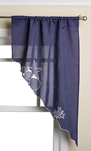 "Lorraine Home Fashions Sanibel Swag Pair, 56 x 38"", Navy"
