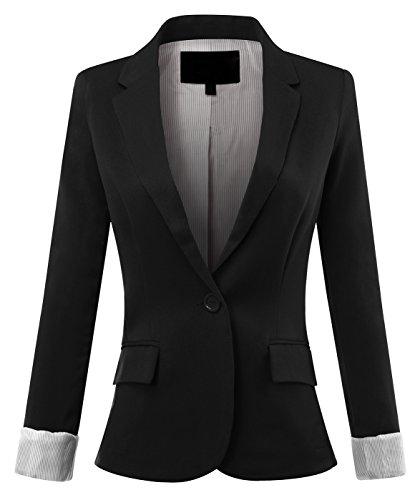 URBAN+K+WOMENS+Basic+Cuffed+Sleeve+Fitted+Boyfriend+Blazer+UBK155BLACK+Medium