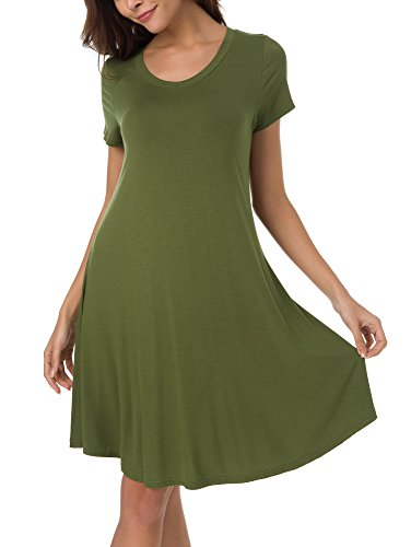 3 Green Urban CoCo Long 4 Loose Casual Shirt Dress Army T 4 Sleeve Women's ROwFqOEH