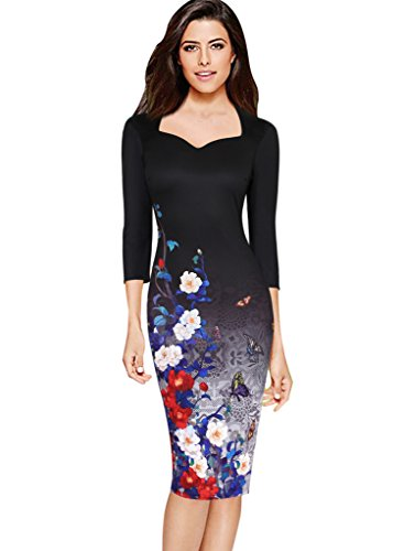 Vfemage Womens Elegant Floral Printed Cocktail Party Casual Sheath Dress 4081 BLK 14