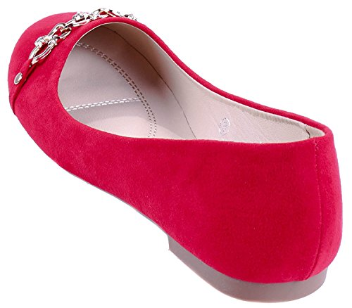 Red Marie Flat Dress Round Bella Ballet Closed Chain on Women's Slip Toe PAAvwax