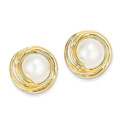 14k Yellow Gold Mabe Pearl Earrings 21x20 mm (14k Pearl Yellow Mabe Gold)