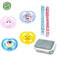 TOPOINT Orthodontic Infant Toddler Silicone Pacifier for Breastfeeding Babies 4 Pcs with Pacifier Case & Clips