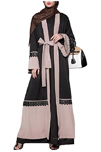 Coolred-Women Gown Lace Plus-Size Saudi Arabia Muslim Dresses Abaya Black L