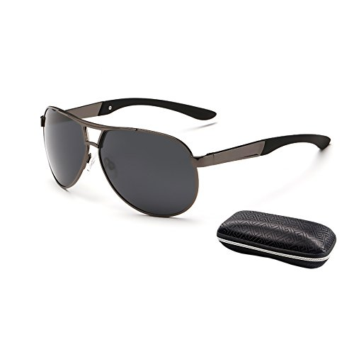 HKBAYI Fashion Men's UV400 Polarized coating Sunglasses men Driving Aviator Mirrors Eyewear Sun Glasses for Men with Case - Aviator Model Sunglasses
