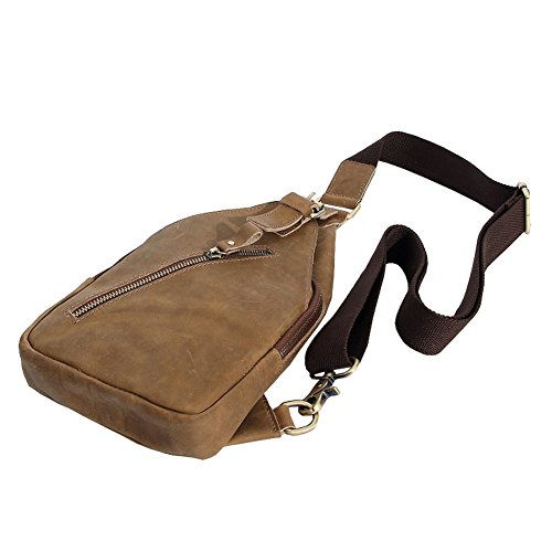 556781f624f28 ... Othilar Damen Herren klein Leder Tasche Brusttasche Schultertasche  Rucksack für Freizeit Sport (Hellbraun) Hellbraun