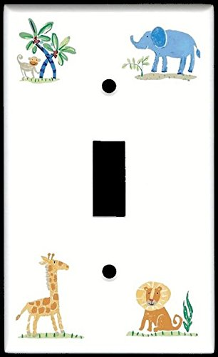Single Toggle (1-toggle) Light Switch Plate Cover - African Safari Wildlife Kids