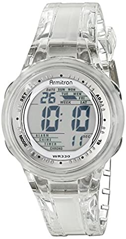 Armitron Sport Women's 45/7051CLR Digital Clear Jelly Strap Watch (Armitron Sports 50)