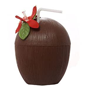 Hawaiian Theme Fancy Dress Party Coconut Cup With Straw by xs-party