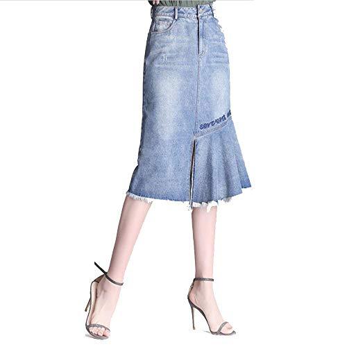 Moiti La Jupe Jupe Blue Jeans Chambre Boy avec 2018 Taille De Hiver Longue Femelle Automne Cow qwXW7OFU