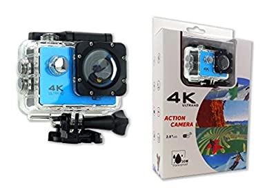 Action 4K 30fps WIFI Sports Action Camera, Ultra HD, Waterproof, 16MP 170 Degree Wide Angle, 2 inch LCD Screen Blue
