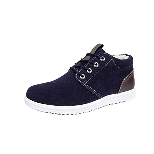 Meijunter Männer Winter Casual Sportschuhe Warme Pelzfutter Outdoor Sneaker Fashion Lace Up Atmungsaktive Flache Stiefel Blau