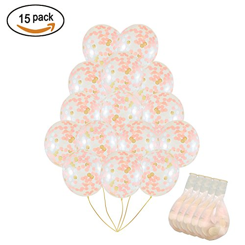 SOTOGO 15 Pieces Rose Gold Confetti Balloons 12 Inches Large Rose Gold Balloons With Golden Light Pink and White Paper Confetti Dots For Party Decorations Wedding Decorations And - Pink Gold
