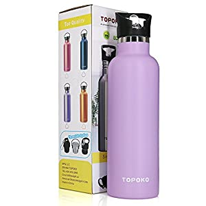 TOPOKO 25 Ounce Double Wall Stainless Steel Water Bottle Vacuum Insulation Bottle Leak Proof Bottle,BPA free With Flip Spout Lid-Purple