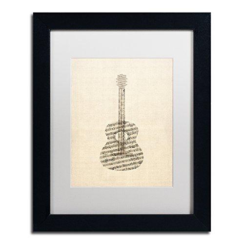 Acoustic Guitar Old Sheet Music by Michael Tompsett, White Matte, Black Frame 11x14-Inch (Music Poster Sheet)