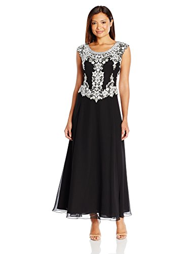 J Kara Women's Petite Cap Sleeve Beaded Top Long Dress