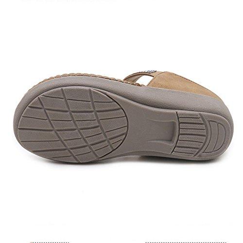 Beige À Couleur Beach 3 37 Beige Bas 1 Sandals Pantoufles Taille Strass Chaussures Femmes Boho EU Summer Talons Plates U8wP8qxR