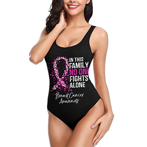 Pillow Towel in This Family No One Fights Alone Breast Cancer One Piece Swimsuits for Women - Sexy Bathing Suits with Slimming High Waist S