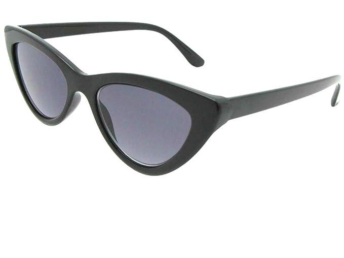 199467cea229 Classic Cat Eye Reading Sunglasses for Women Style R93 (Black Frame Gray  Lenses, 1.25