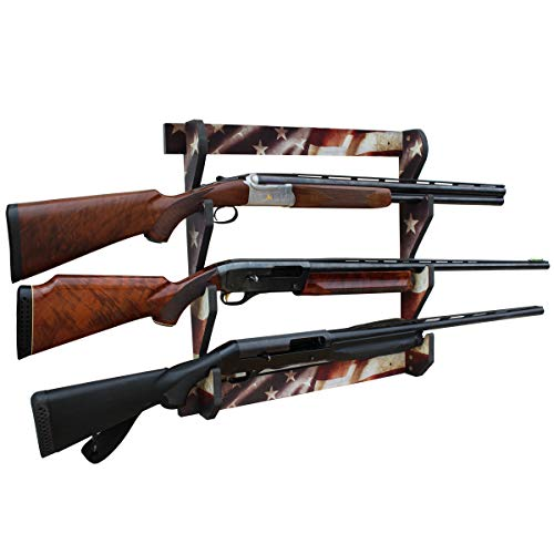 Rush Creek Creations Indoor 3 Rifle/Shotgun Wall Storage Display Rack Americana Finish - Convenient Easy Assembly