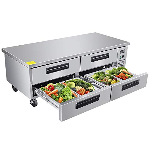 Commercial 4 Drawer Refrigerated Chef Base - KITMA 76 Inches Stainless Steel Chef Base Work Table Refrigerator - Kitchen Equipment Stand, 33 °F - ()