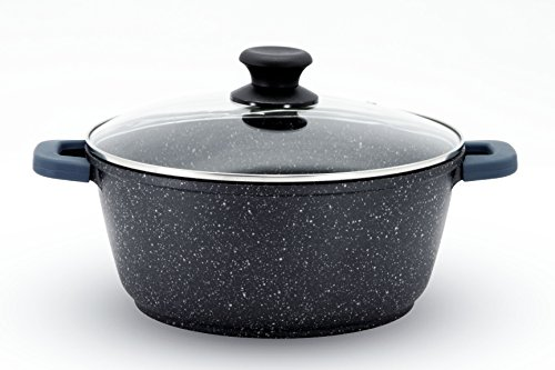 - Non Stick Aluminum Die-Casting Dutch Oven Marble Stone Coating Stock Pot with Lid (28 cm , 7.0 Qt)