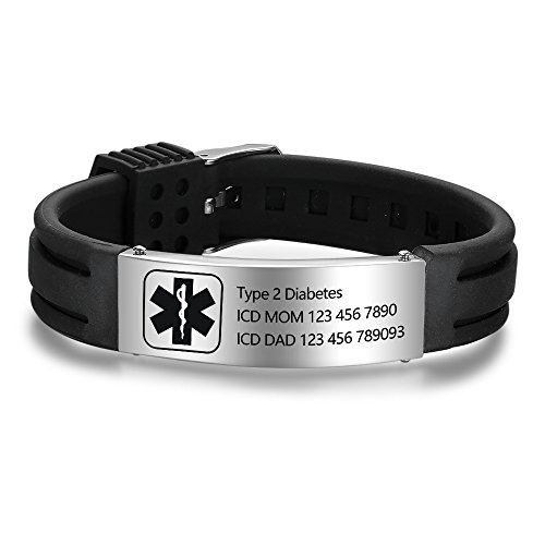 Lam Hub Fong Free Engrave 9 Inches Silicone Adjustable Medical Bracelets Emergency ID Bracelets for Men Women Kids Stainless Steel Rubber Alert Bracelets ()