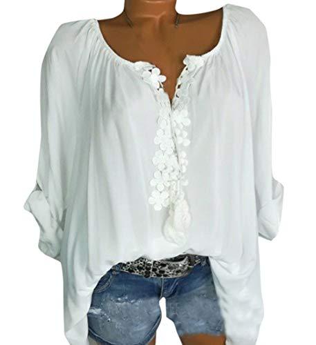 Simple-Fashion Primavera e Autunno Donna Moda Pizzo Cucitura Top Shirts Maglietta Casual Sciolto Maglie a Manica Lunga Cime Camicie Bluse Bianca