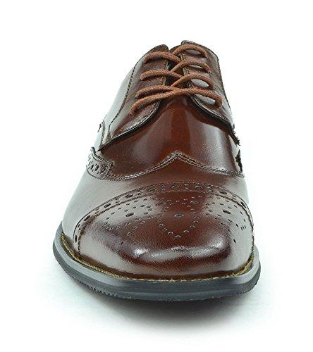 Moda Di Raza Mens Oxford Dentelle Robe Chaussures Élégant Branché Lumière Briller Cognac