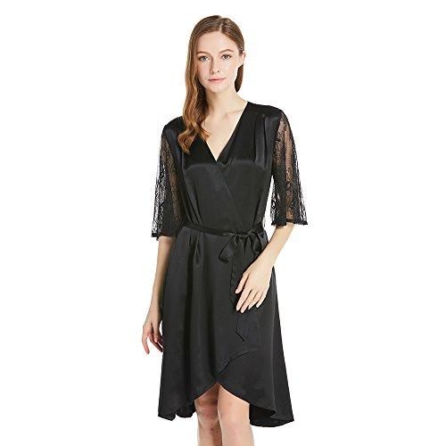 LILYSILK Camisón Mujer de Seda - 100% Seda de Mora 22 Momme, Super Cómoda y Transpirable - Vestido Lujoso Mangas de Enlace Semitransparente Negro