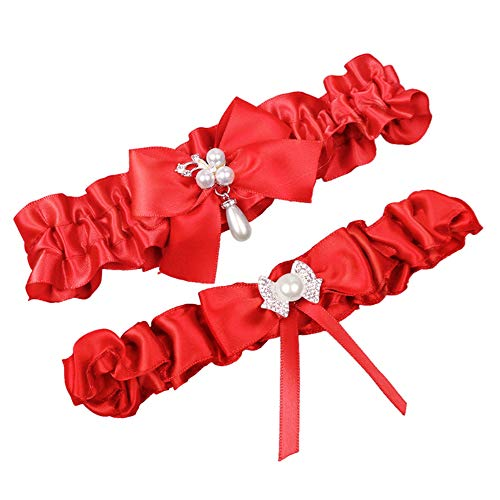 MerryJuly Satin Ribbon Wedding Bridal Garter Belt Set Toss Away Prom Garters (Red)
