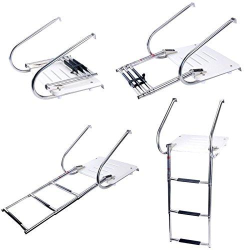 - Amarine-made Boat In-board Swim Fiberglass Platform with 3-steps Stainless Ladder