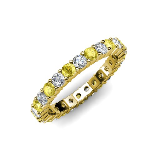 Yellow Sapphire and Diamond Common Prong Eternity Band 2.05 ct tw to 2.46 ct tw in 14K Yellow Gold.size 6.0 (2ct Diamond Eternity Tw Band)