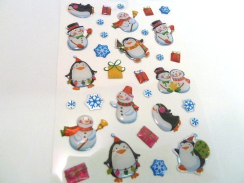 Snowman & Penguin Stickers - Kids / Childrens Christmas Labels for party bags , scrap books , card making or notebook decoration , stocking filler Minilabel