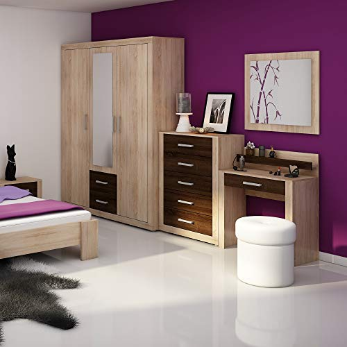 i Wardrobe with Mirror, Multiple Finishes 3 Door Sonoma Oak/Dark Oak Sonoma Oak/Dark Oak ()
