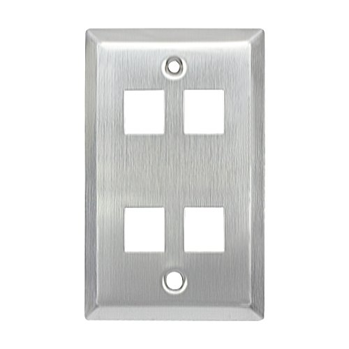 (CoocoTech Stainless Steel Keystone Wall Plate,1-Gang,Cat5 Wall Plate, (4 Ports))