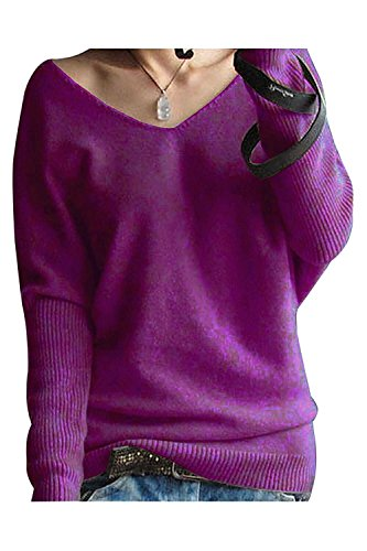 FCYOSO Women's Big V-Neck Pullover Loose Sexy Batwing Sleeve Wool Cashmere Sweater Tops Small (L/s Pullover Sweater)
