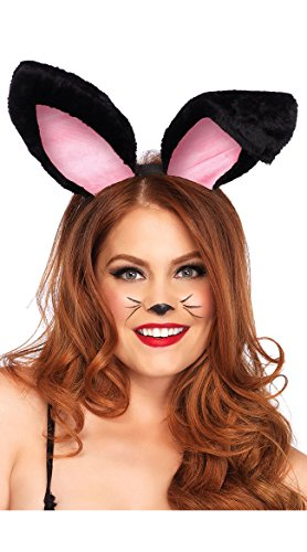 Leg Avenue Women's Plush Bunny Ears, Black, One Sizes Fit Most