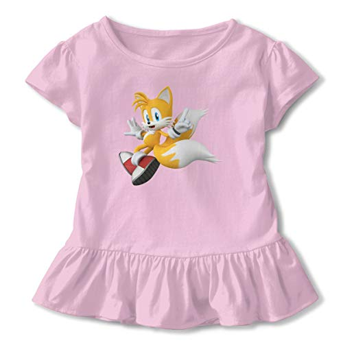 Sonic Tails Girl (MDClothI Girl's Sonic Hedgehog Tails Funny Short Sleeve Ruffled T-Shirts 4T)