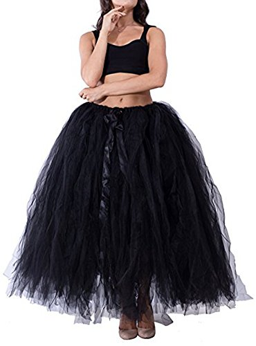 PROMLINK Long Puffy Tutu Tulle Skirt for Women 7-Layer A-line Petticoat,Black -