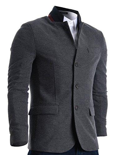 Mandarin Collar Blazer - FLATSEVEN Mens Slim Casual Waffle Fabric Blazer Jacket (BJ105) Grey, Mens S