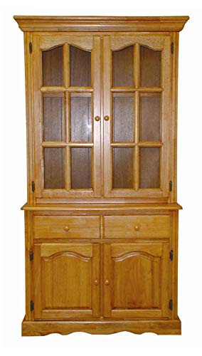 - Sunset Trading DLU-19-BUFHUT-LO Keepsake Buffet and Lighted Hutch, Oak Finish