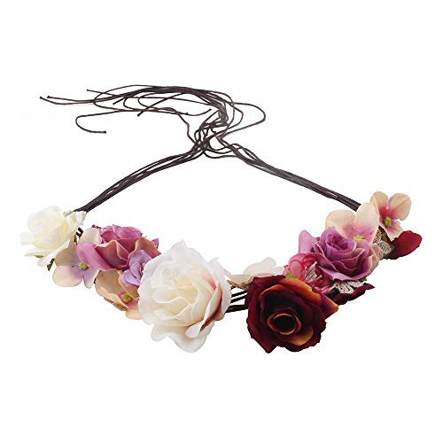 Flower Headband Boho Hair Wreath for Women Bridal Floral Crown Wedding Festival Party (Color C)