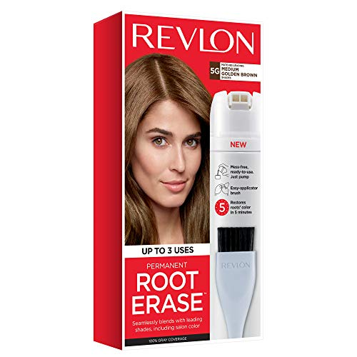 Revlon Root Erase Permanent Hair Color, Root Touchup Hair Dye, Medium Golden Brown, 3.2 Fluid Ounce ()