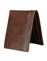 American Trends Men's Genuine Leather Slim ID Wallets Bifold Credit Card Holder