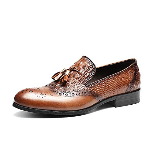 Tassel Crocodile - Men's Loafer Casual Shoes Young Fashion Slip-On Business Shoes Tassel Crocodile Pattern Leather Formal Dress Shoes,Brown,42EU
