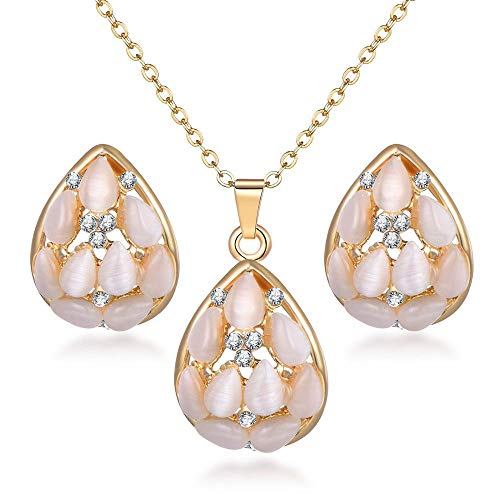 Crystal Gold Jewerly Sets For Women Cat's Eye Stones Jewelry Set Of African Statement Necklace Earrings Jewellery Set SL1130